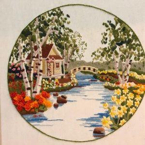 Vintage Wall Art - Vintage large crewel embroidery art cottage bridge